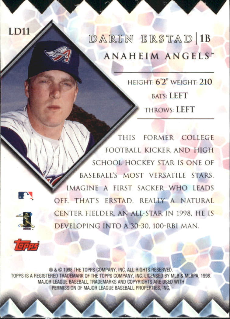 1999 Topps Lords of the Diamond #LD11 Darin Erstad back image