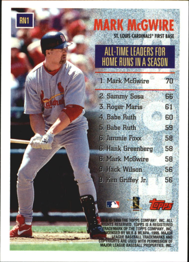 1999 Topps Record Numbers #RN1 Mark McGwire back image
