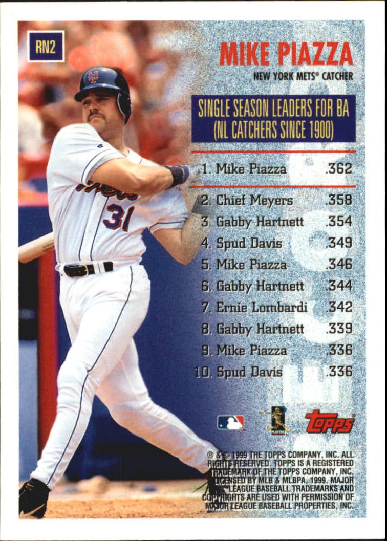 1999 Topps Record Numbers #RN2 Mike Piazza back image