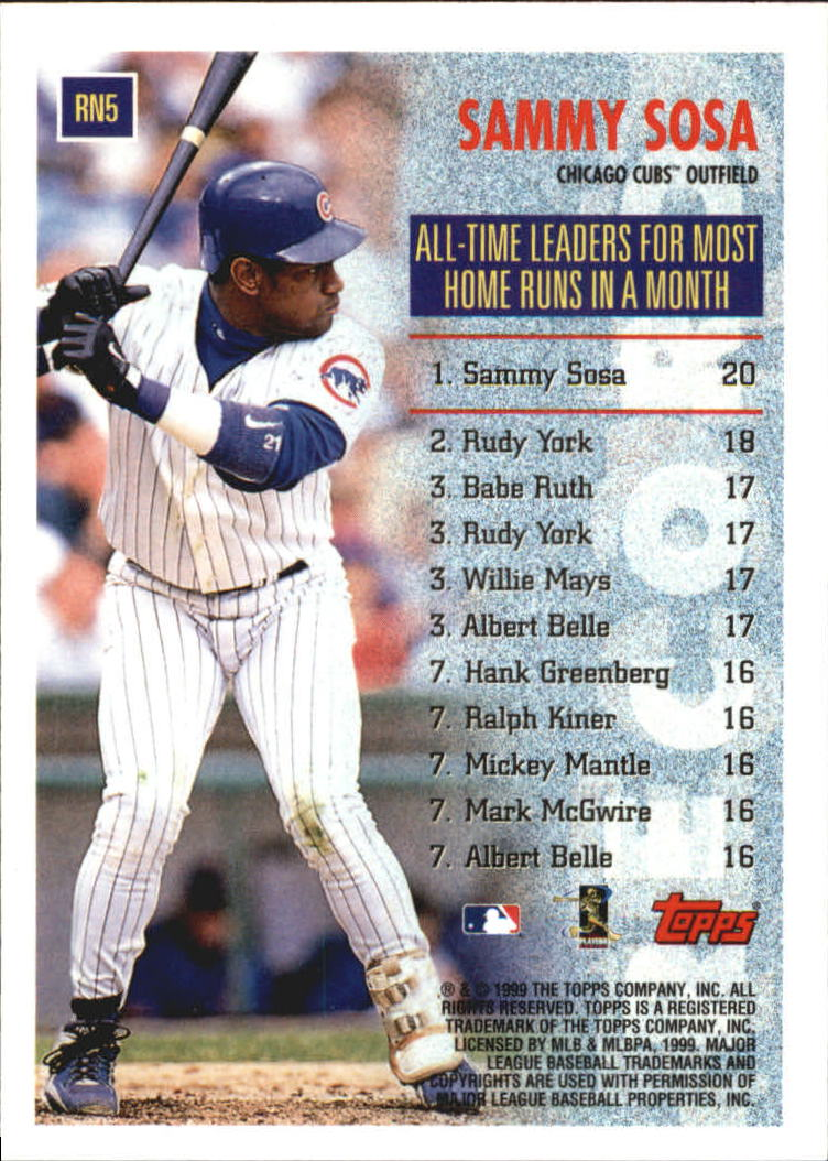 1999 Topps Record Numbers #RN5 Sammy Sosa back image