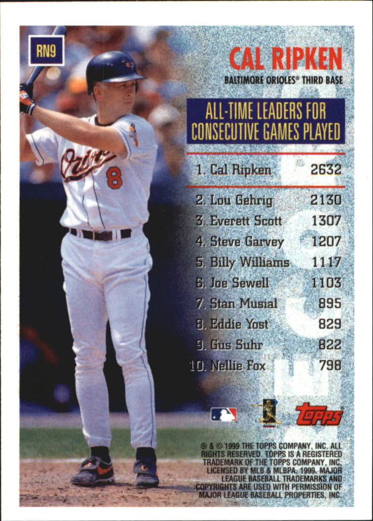 1999 Topps Record Numbers #RN9 Cal Ripken back image