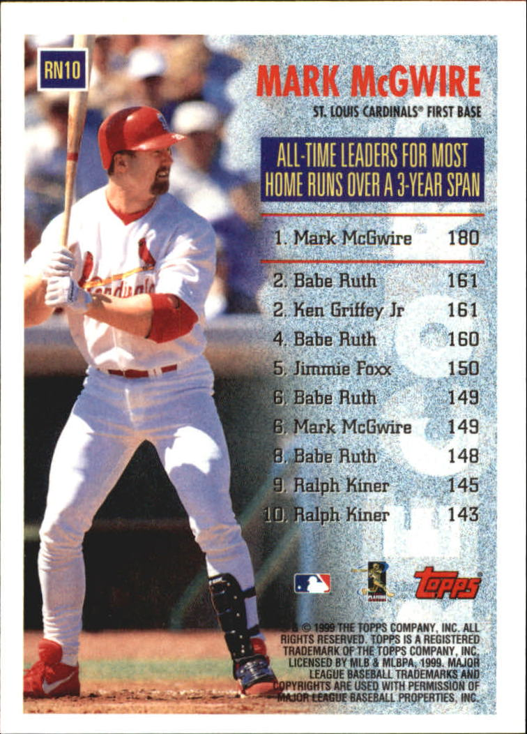 1999 Topps Record Numbers #RN10 Mark McGwire back image