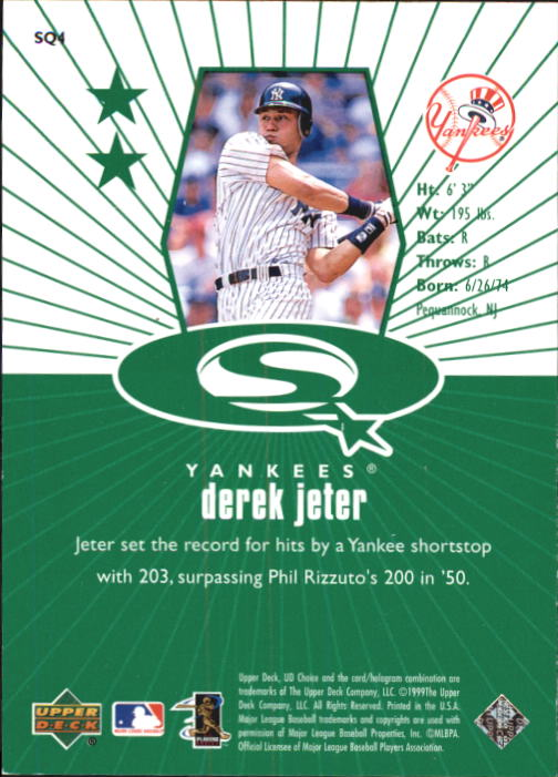 1999 UD Choice StarQuest Green #4 Derek Jeter back image