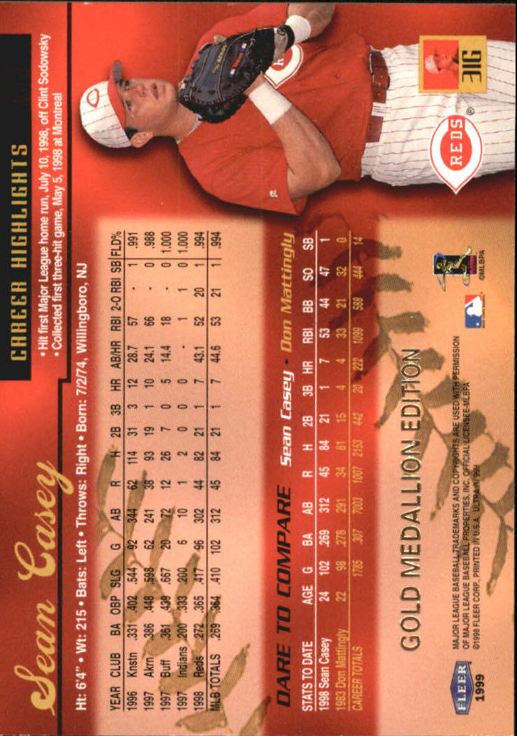 1999 Ultra Gold Medallion #31 Sean Casey back image