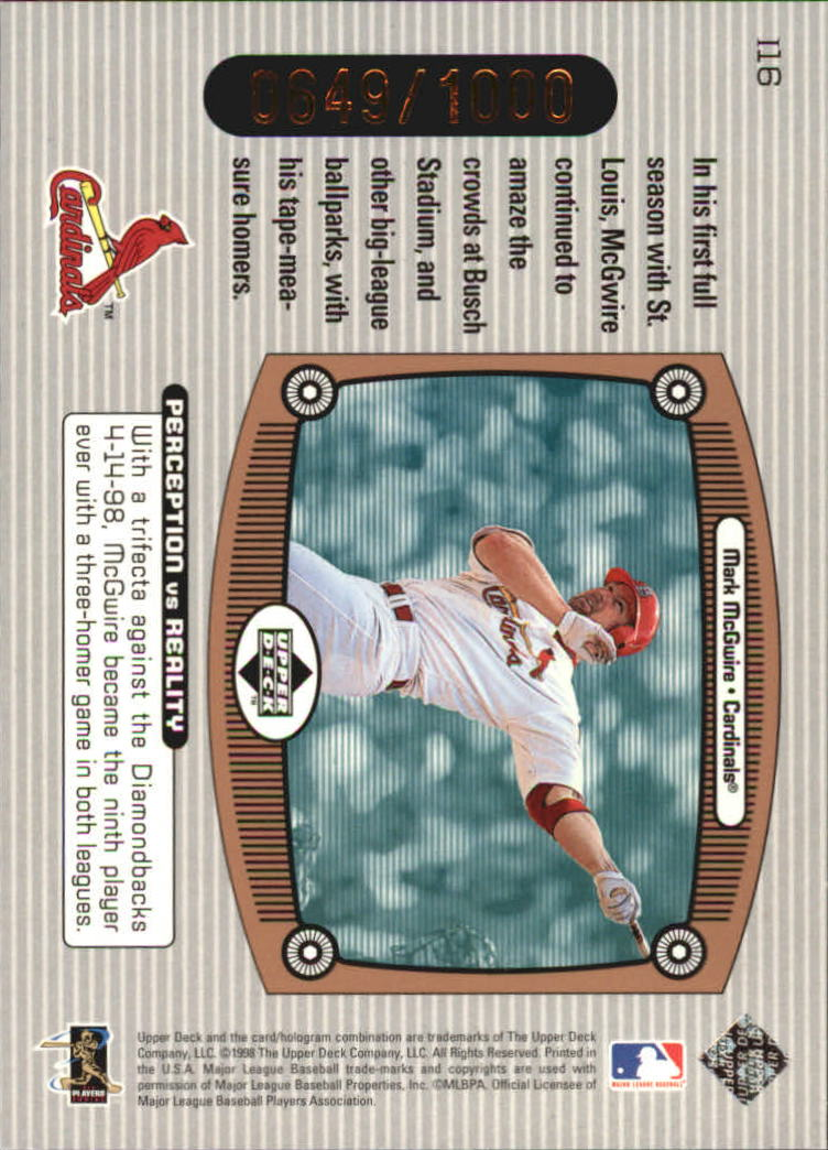 1999 Upper Deck Immaculate Perception Double #I16 Mark McGwire back image