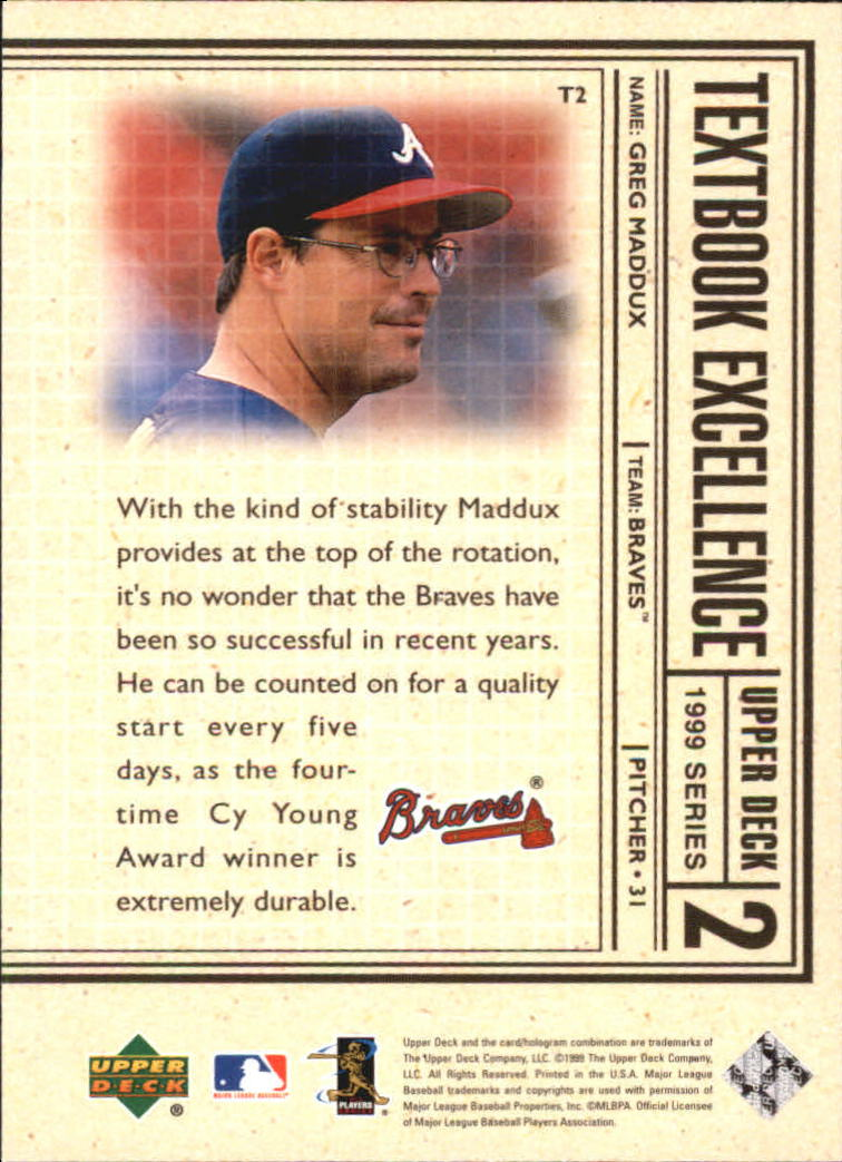 1999 Upper Deck Textbook Excellence #T2 Greg Maddux back image