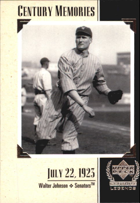 1999 Upper Deck Century Legends #129 Walter Johnson MEM
