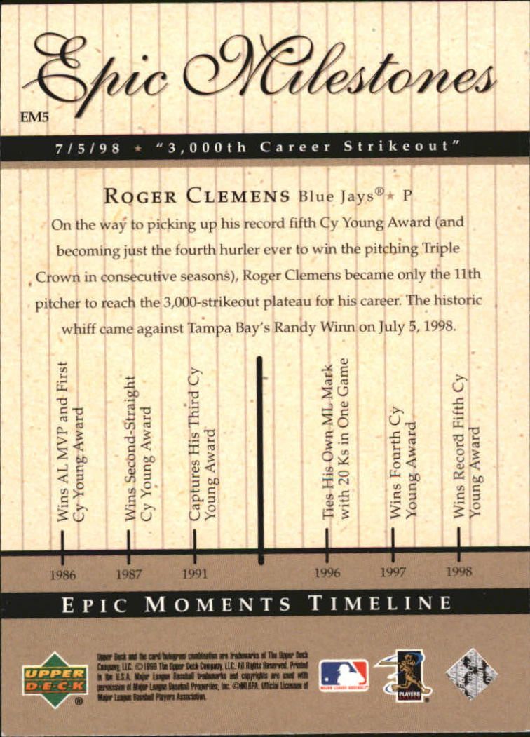 1999 Upper Deck Century Legends Epic Milestones #EM5 Roger Clemens back image