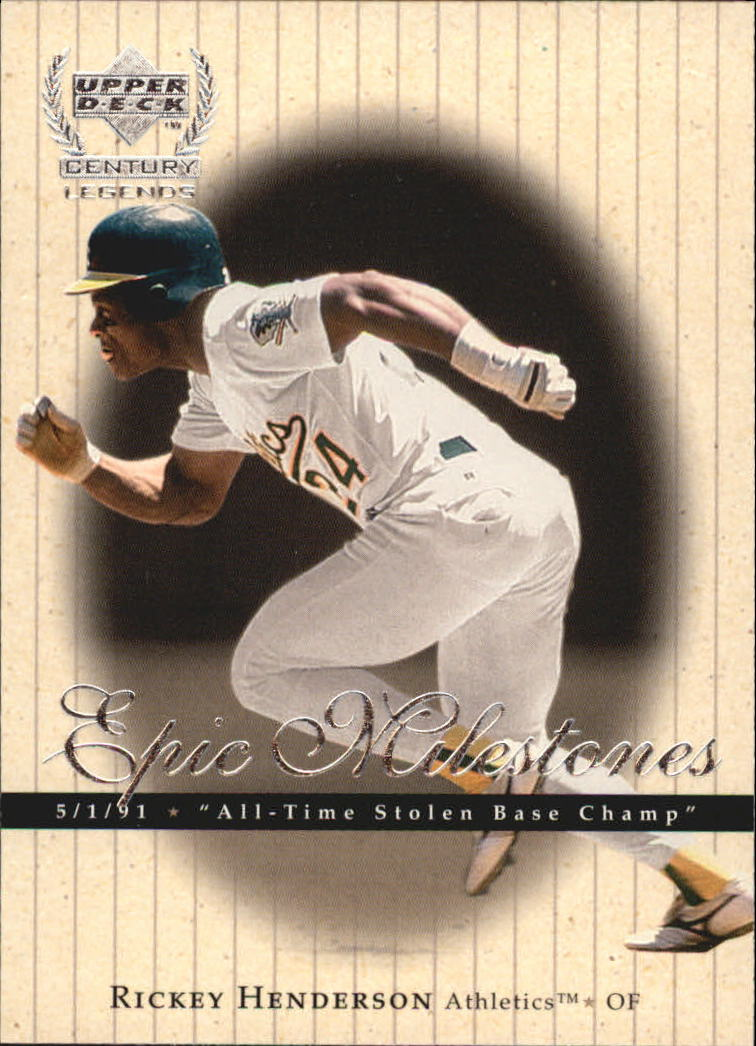 1999 Upper Deck Century Legends Epic Milestones #EM8 Rickey Henderson