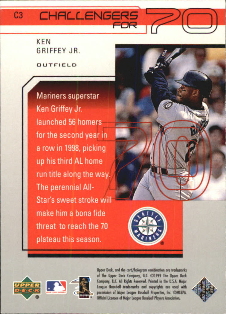 1999 Upper Deck Challengers for 70 Challengers Inserts #C3 Ken Griffey Jr. back image