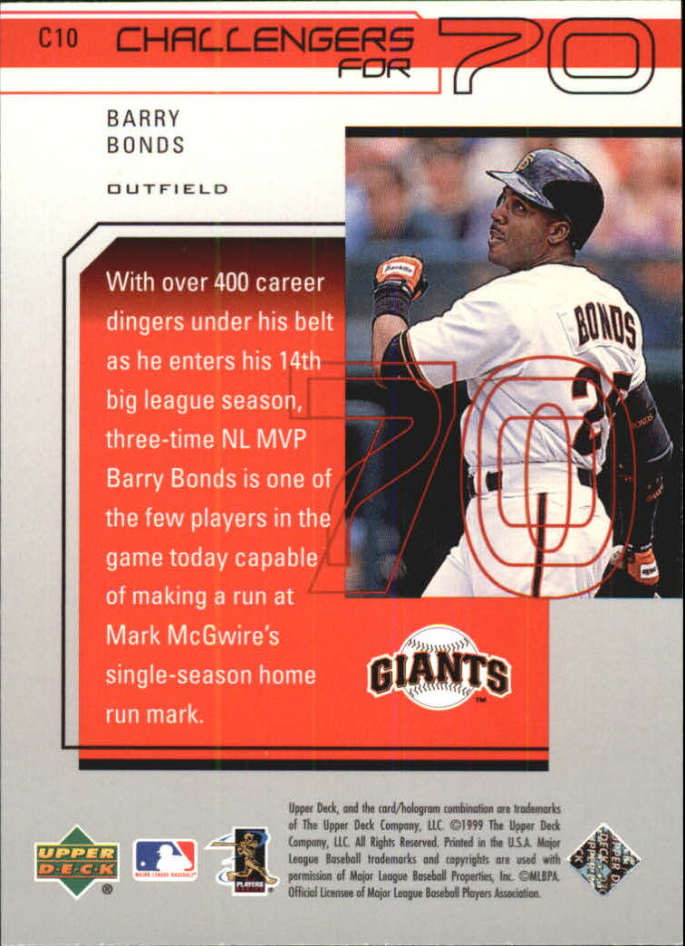 1999 Upper Deck Challengers for 70 Challengers Inserts #C10 Barry Bonds back image