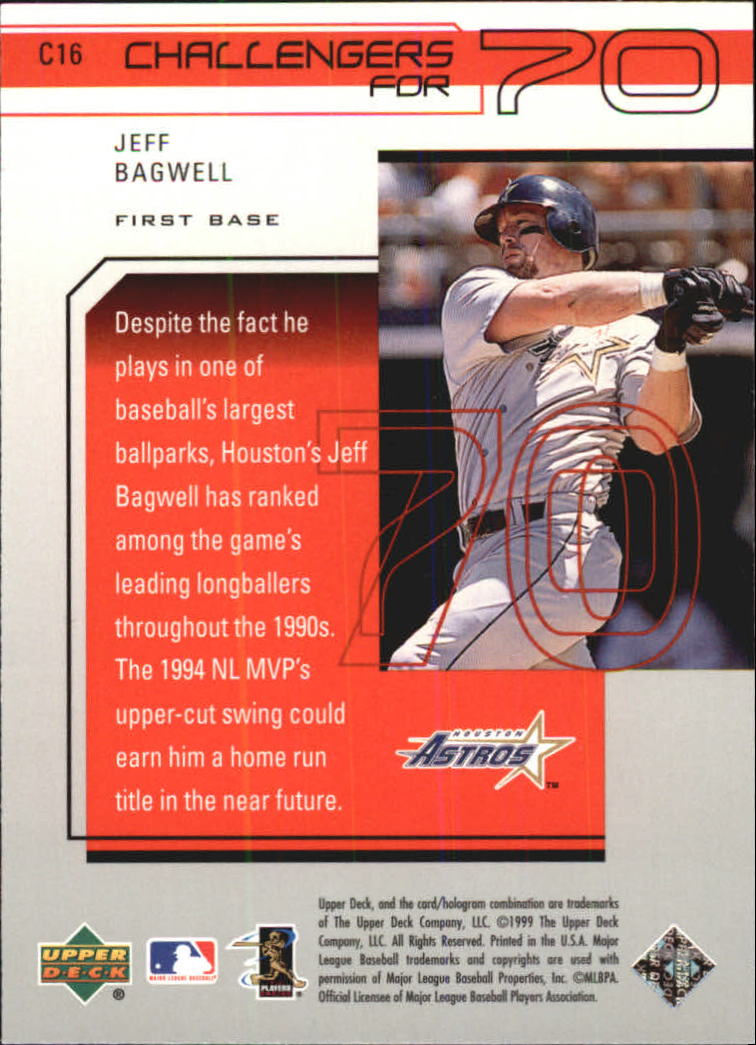 1999 Upper Deck Challengers for 70 Challengers Inserts #C16 Jeff Bagwell back image