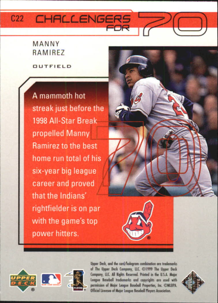 1999 Upper Deck Challengers for 70 Challengers Inserts #C22 Manny Ramirez back image