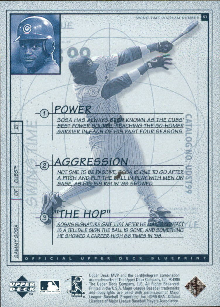 1999 Upper Deck MVP Swing Time #S3 Sammy Sosa back image