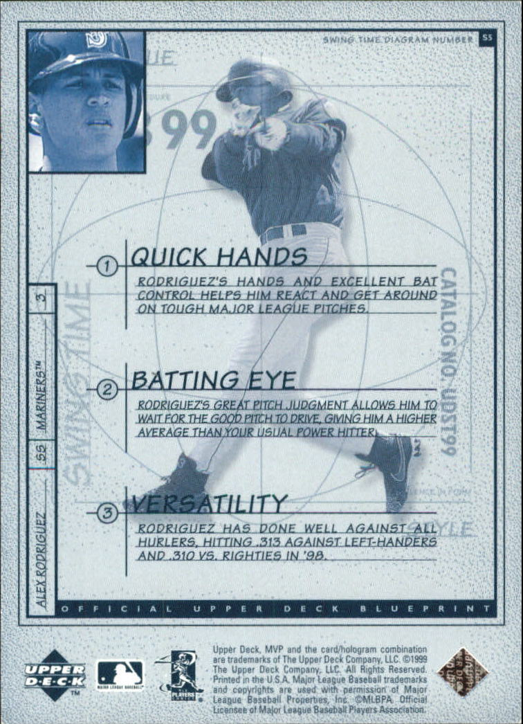 1999 Upper Deck MVP Swing Time #S5 Alex Rodriguez back image