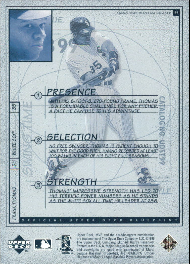 1999 Upper Deck MVP Swing Time #S8 Frank Thomas back image