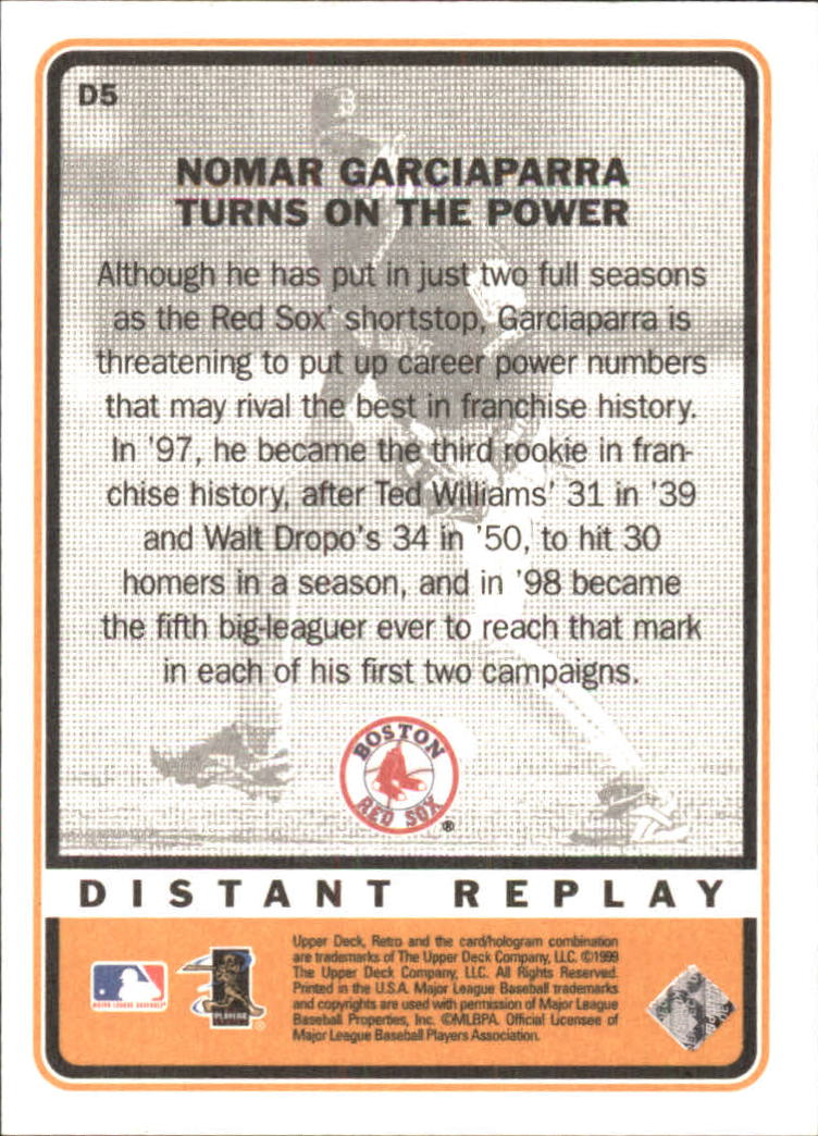1999 Upper Deck Retro Distant Replay #D5 Nomar Garciaparra back image