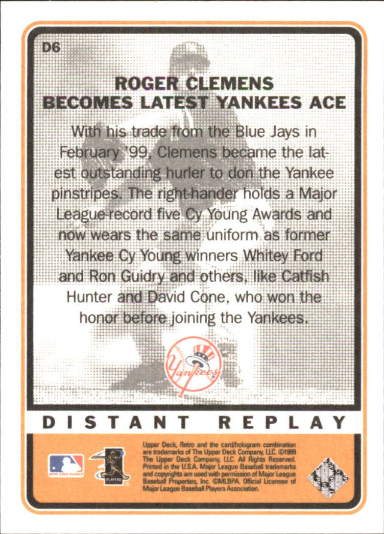 1999 Upper Deck Retro Distant Replay #D6 Roger Clemens back image