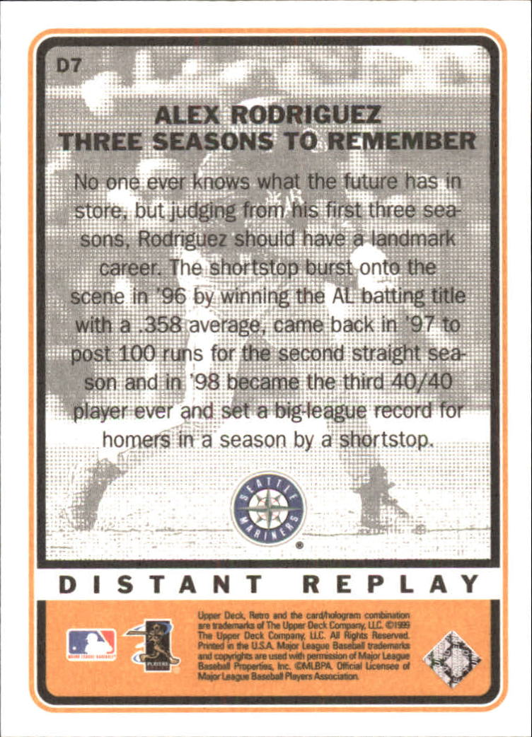 1999 Upper Deck Retro Distant Replay #D7 Alex Rodriguez back image