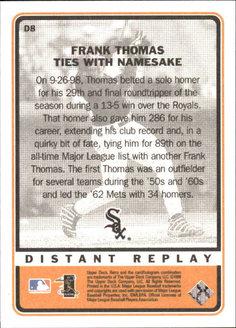 1999 Upper Deck Retro Distant Replay #D8 Frank Thomas back image