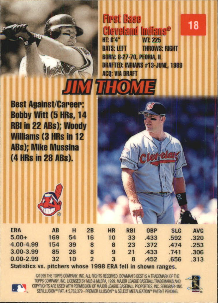 1999 Bowman's Best #18 Jim Thome back image
