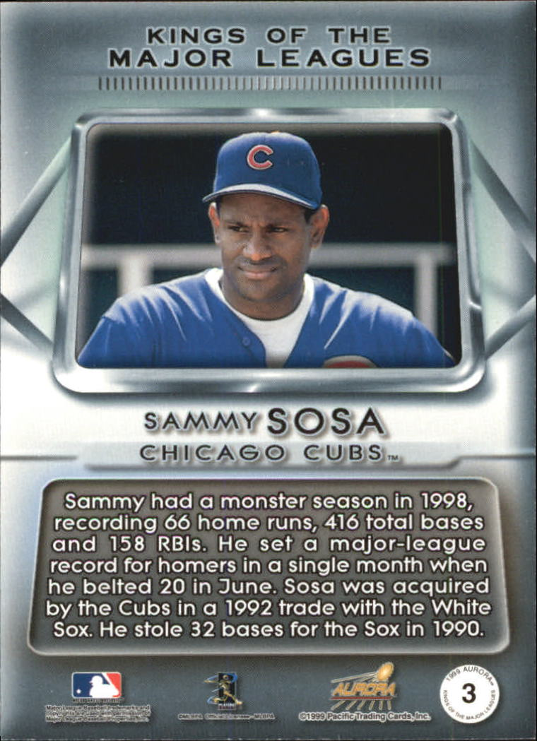 1999 Aurora Kings of the Major Leagues #3 Sammy Sosa back image