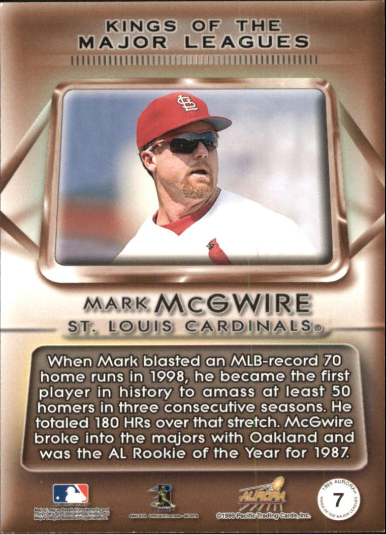1999 Aurora Kings of the Major Leagues #7 Mark McGwire back image