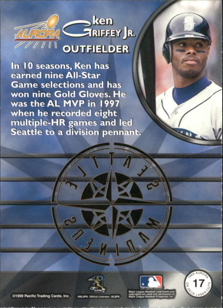 1999 Aurora On Deck Laser-Cuts #17 Ken Griffey Jr. back image