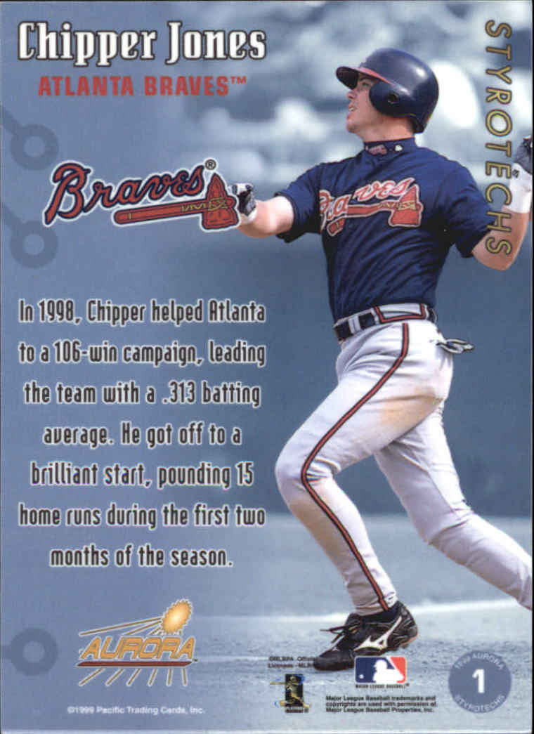 1999 Aurora Styrotechs #1 Chipper Jones back image