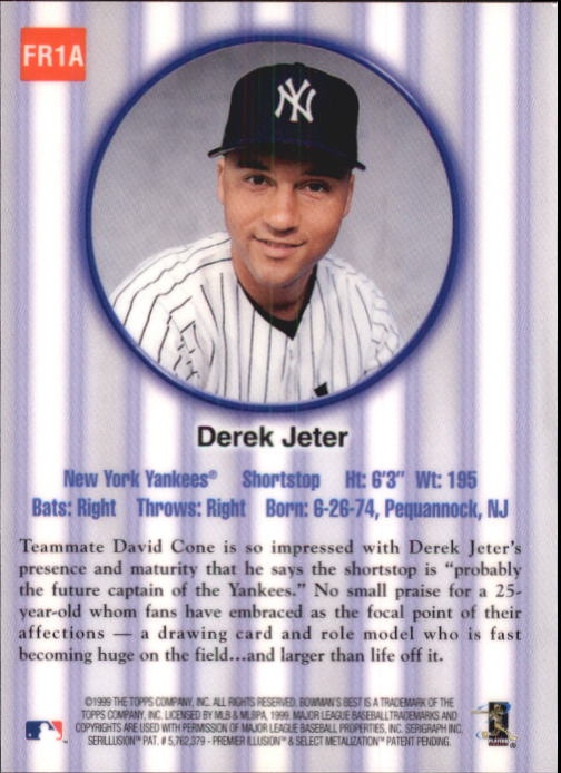 1999 Bowman's Best Franchise Favorites #FR1A Derek Jeter back image