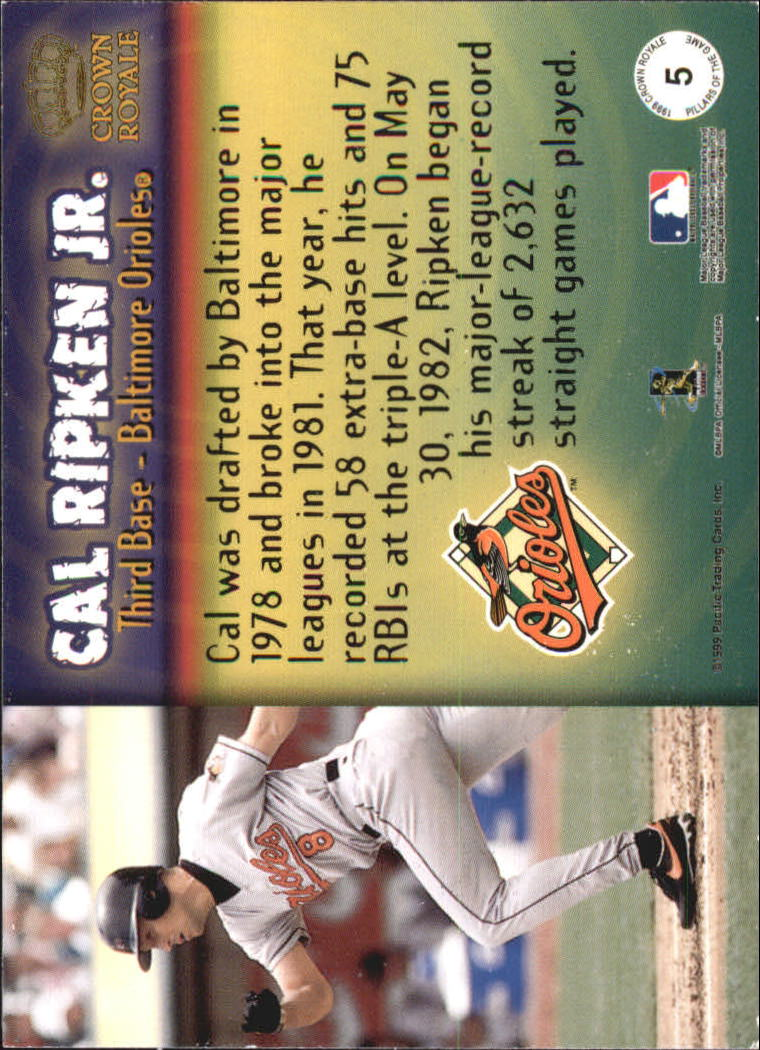 1999 Crown Royale Pillars of the Game #5 Cal Ripken back image
