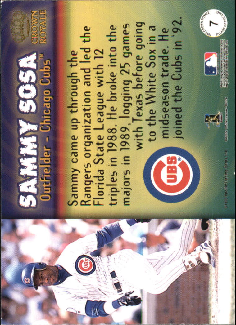 1999 Crown Royale Pillars of the Game #7 Sammy Sosa back image