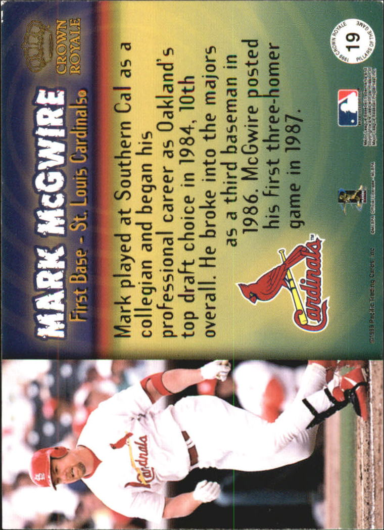 1999 Crown Royale Pillars of the Game #19 Mark McGwire back image