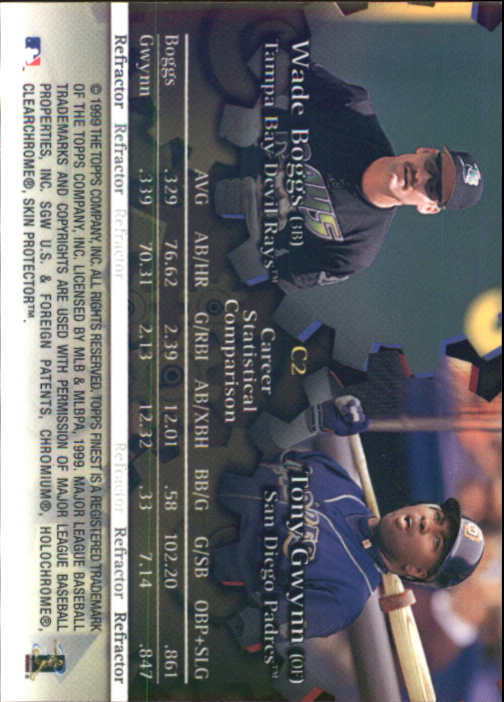1999 Finest Complements Dual Refractors #C2 Tony Gwynn/Wade Boggs back image