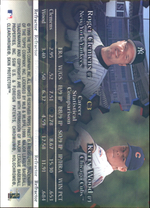 1999 Finest Complements Dual Refractors #C3 Kerry Wood/Roger Clemens back image