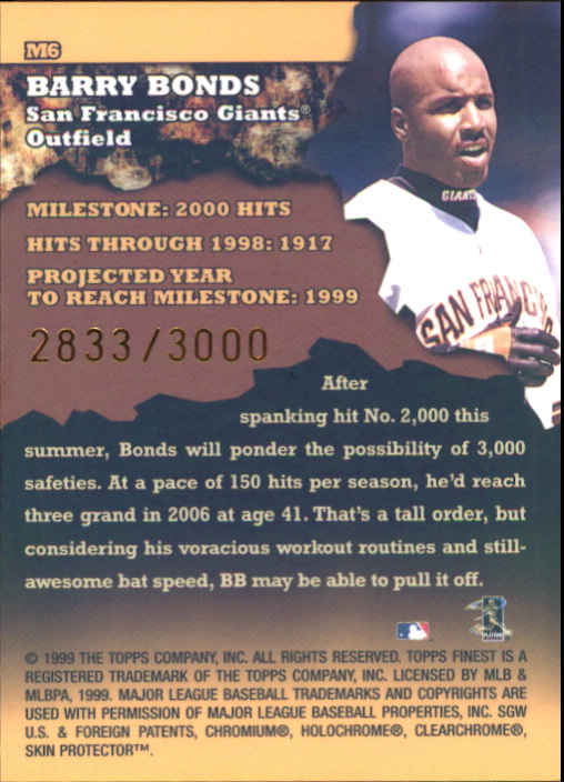 1999 Finest Milestones #M6 Barry Bonds HIT back image