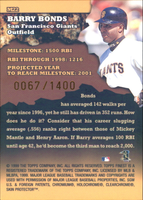 1999 Finest Milestones #M22 Barry Bonds RBI back image