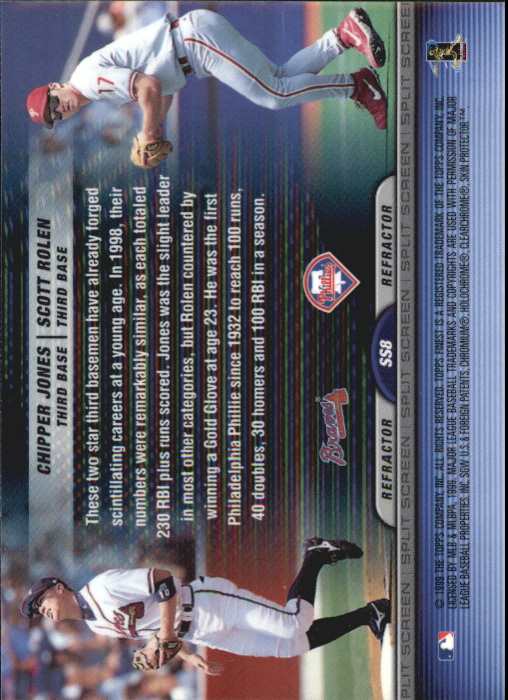 1999 Finest Split Screen Dual Refractors #SS8 Scott Rolen/Chipper Jones