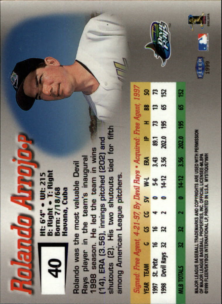 1999 Fleer Mystique #40 Rolando Arrojo back image