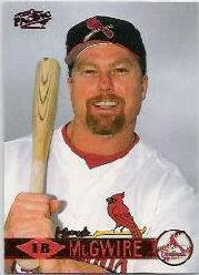1999 Pacific Red #70A Mark McGwire Headshot