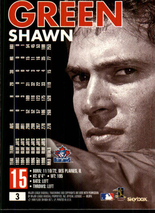 1999 SkyBox Premium #3 Shawn Green back image