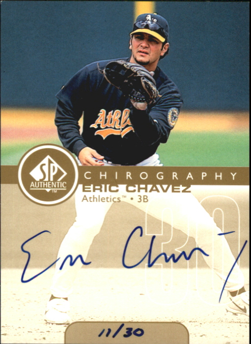 1999 SP Authentic Chirography Gold #EC Eric Chavez/30