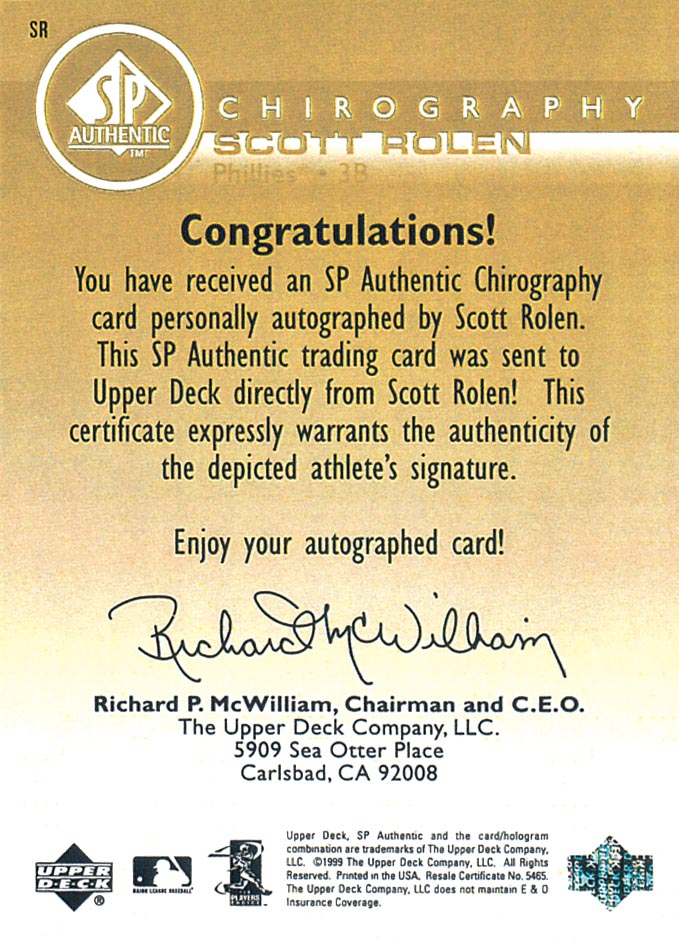 1999 SP Authentic Chirography Gold #SR Scott Rolen/17 back image