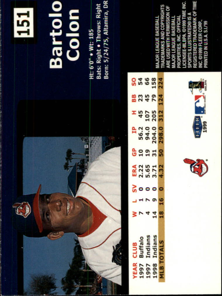 1999 Sports Illustrated #151 Bartolo Colon back image