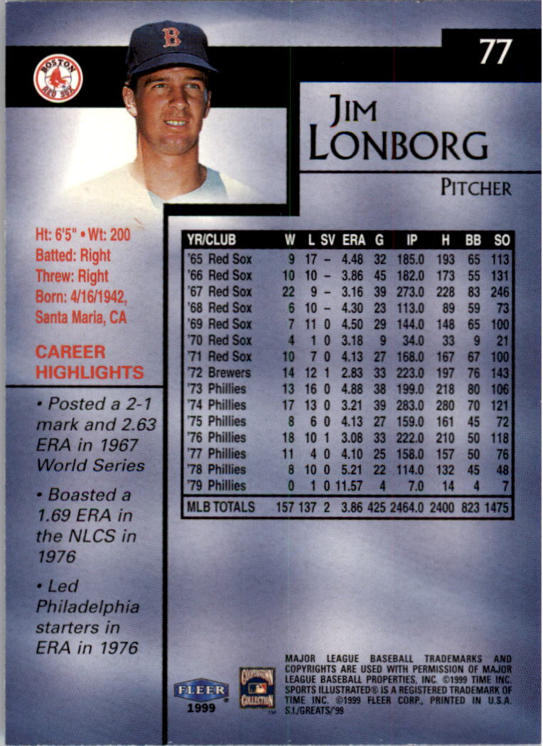 1999 Sports Illustrated Greats of the Game #77 Jim Lonborg back image