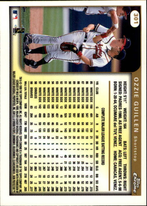 1999 Topps Chrome #301 Ozzie Guillen back image