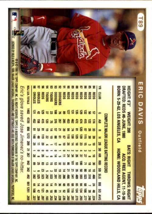 1999 Topps Chrome Traded #T89 Eric Davis back image