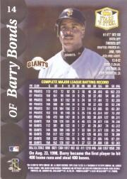 1999 Topps Stars 'N Steel #14 Barry Bonds back image
