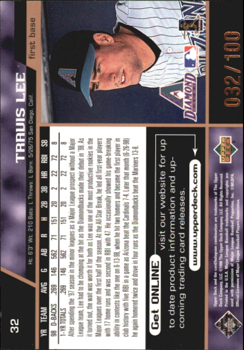 1999 Upper Deck #32 Travis Lee back image