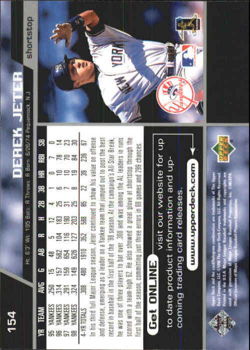 1999 Upper Deck #154 Derek Jeter back image
